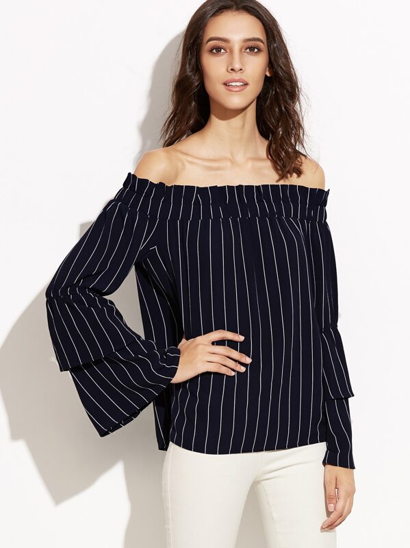 ea882dfe92660c Navy Pinstripe Off The Shoulder Layered Bell Sleeve Top -SheIn ...
