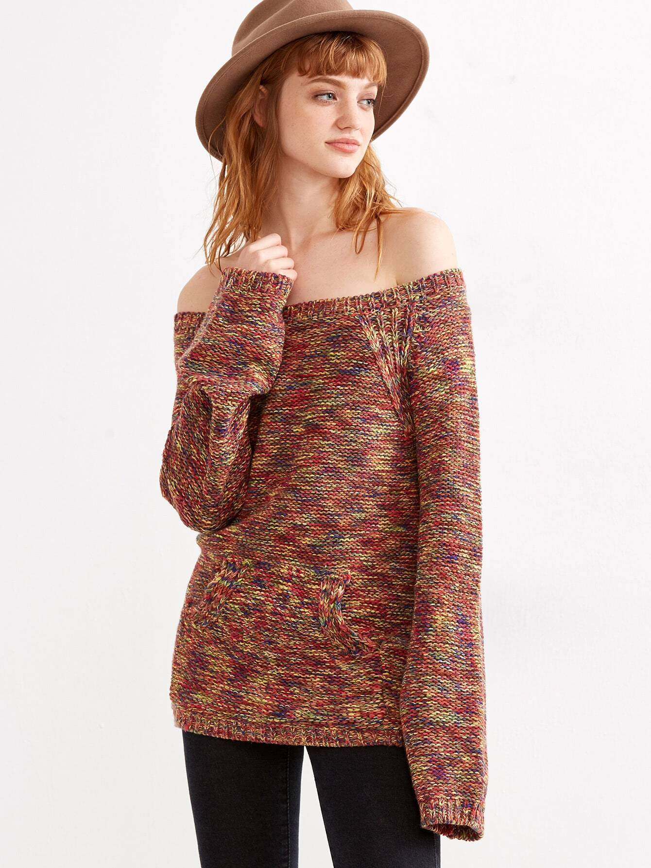 Multicolor Marled Knit Off The Shoulder Sweater -SheIn(Sheinside)