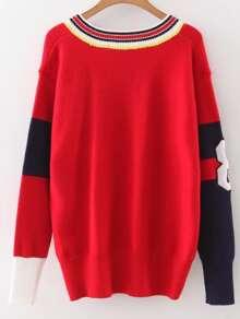 Red Color Block V Neck Varsity Sweater