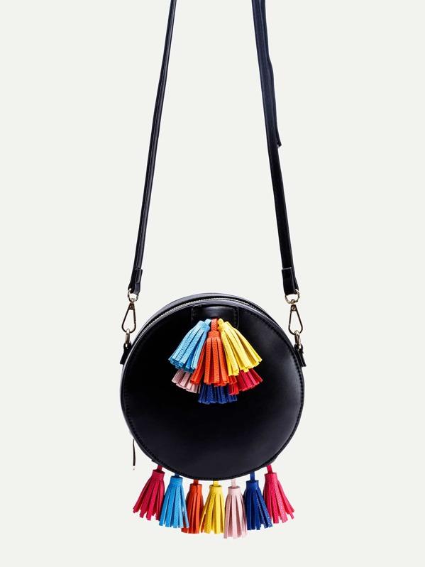 Black PU Round Shape Tassel Trim Crossbody Bag