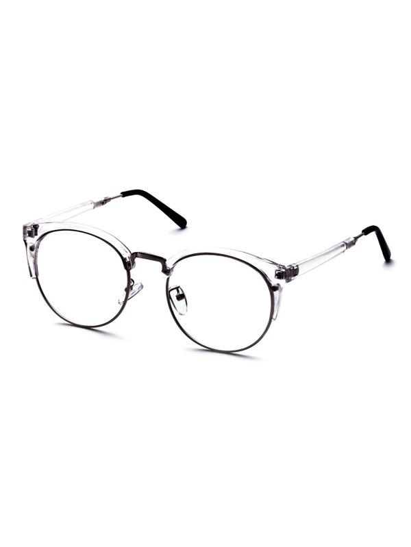 Clear Frame Semi Rimless Metal Trim Glasses -SheIn(Sheinside)
