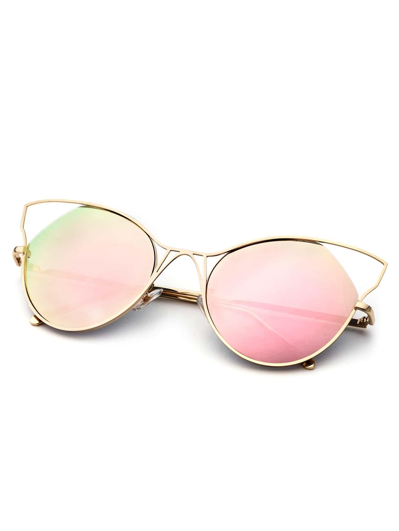 Gold Frame Cat Eye Sunglasses : Gold Frame Pink Cat Eye Sunglasses -SheIn(Sheinside)