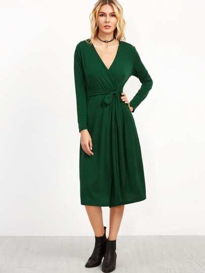 7a947acf5f Dark Green Deep V Neck Wrap Dress. AddThis Sharing Buttons