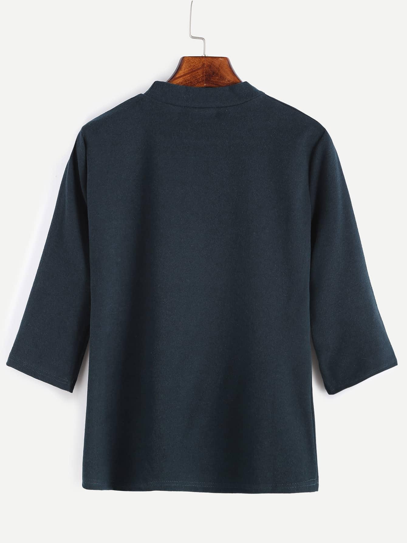 Mock neck elbow sleeve t shirt shein sheinside for Mock crew neck shirts