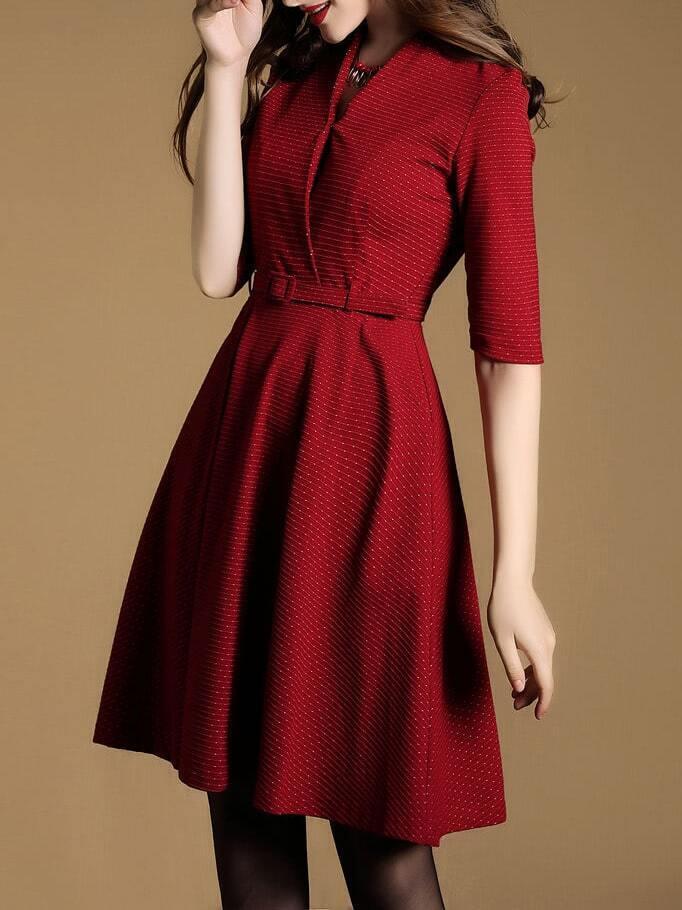 v neck belted a line dress shein sheinside
