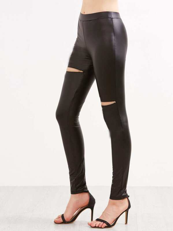 c11d133947a Black Faux Leather Skinny Pants With Zip Detail | SHEIN UK