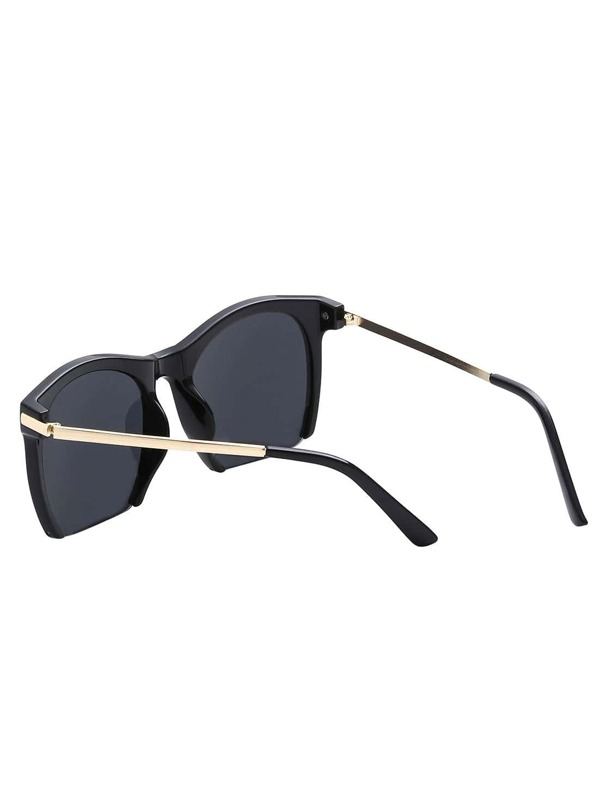 bed10ccd7e Gafas de sol marco abierto brazo de metal - negro-Spanish SheIn(Sheinside)