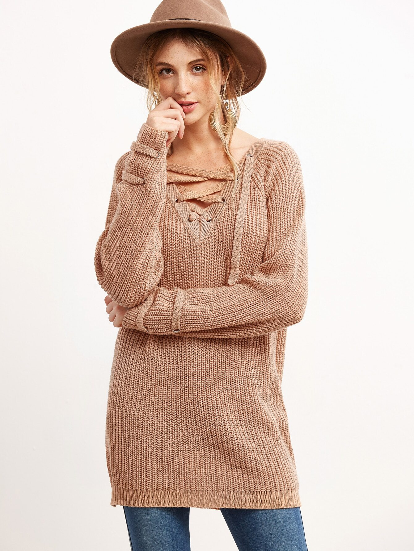 Pink V Neck Eyelet Lace Up Loose Sweater