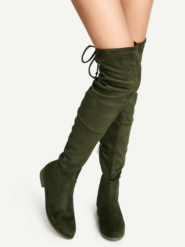 145a82cc96a Cheap Olive Green Suede Lace Up Over The Knee Boots for sale Australia