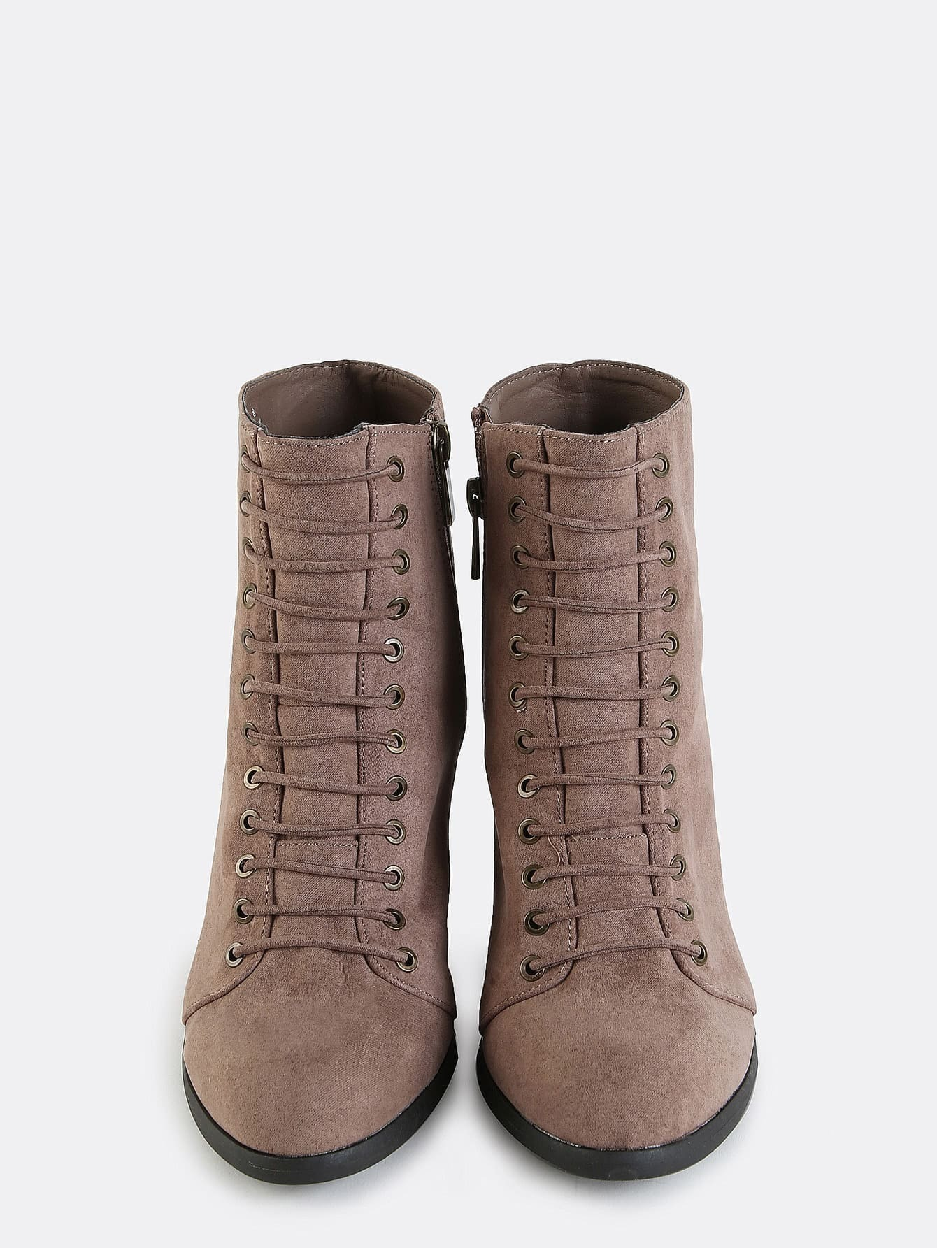 metallic eyelet stacked heel boots taupe shein sheinside