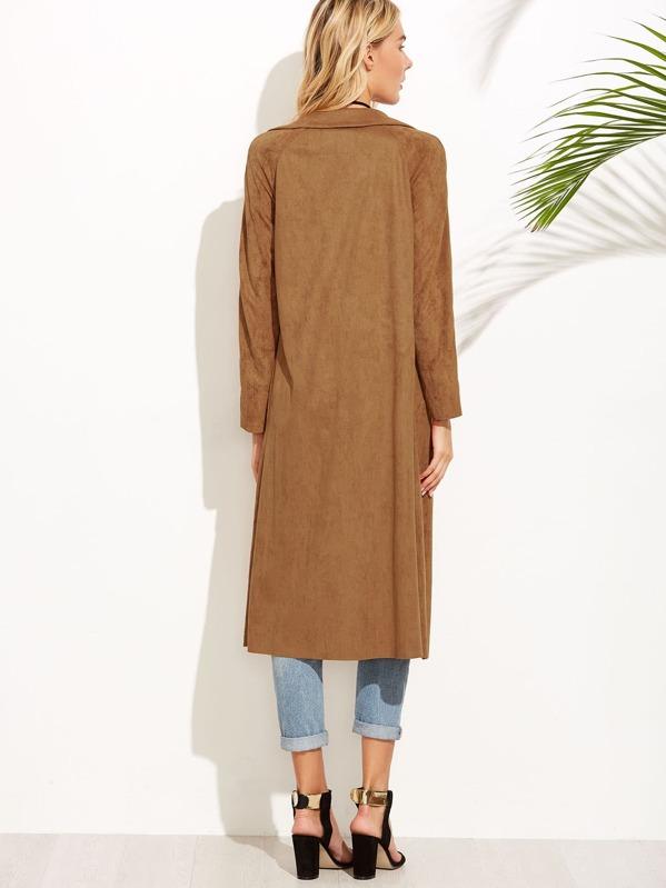 5c94f1a42 Brown Suede Self Tie Duster Coat