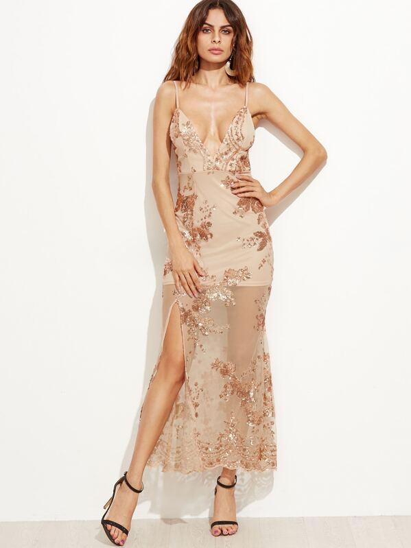 0ec2ba227b Rose Gold Mesh Overlay Slit Hem Sequin Slip Dress