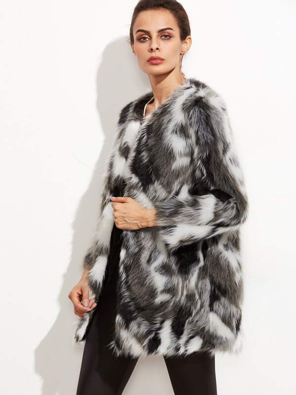 ea0d4edd69 Faux Fur Open Front Fuzzy Coat   SHEIN