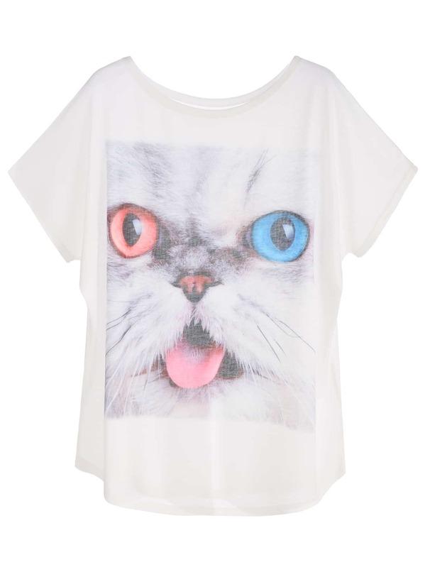 2f43deb72 White Cat Print Dolman Sleeve T-shirt | SHEIN