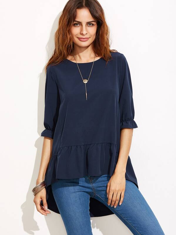 27bf7e73040 Frill Sleeve High Low Tiered Peasant Top
