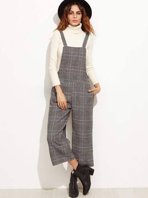 c13c64243ae5 Grey Glen Plaid Wide Leg Overall Jumpsuit