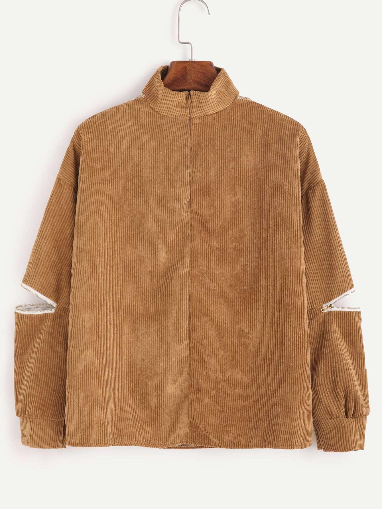 Khaki V Cut Corduroy Zippers Blouse