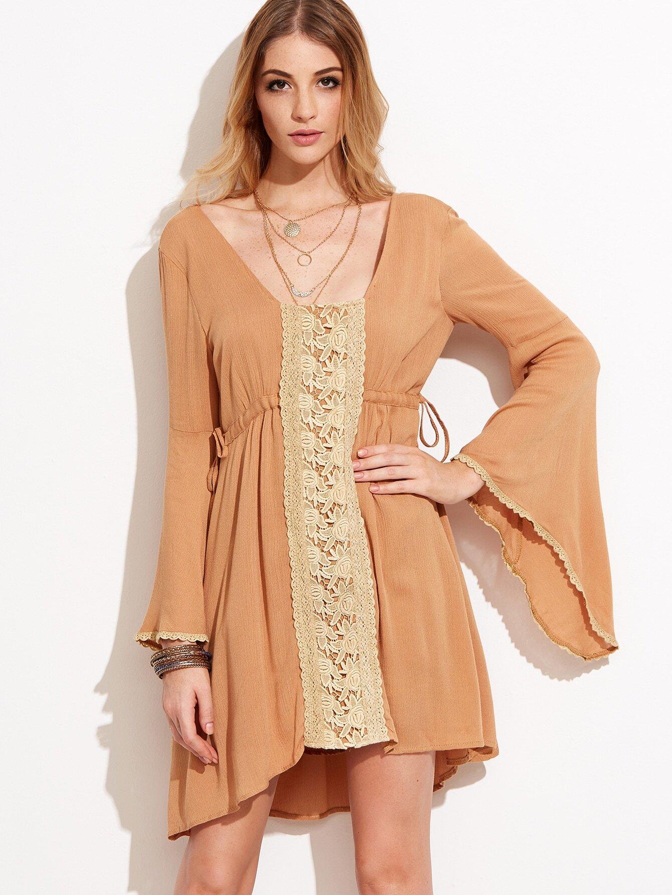 510cd1904e4 Camel Lace Trim Drawstring Waist Bell Sleeve Dress
