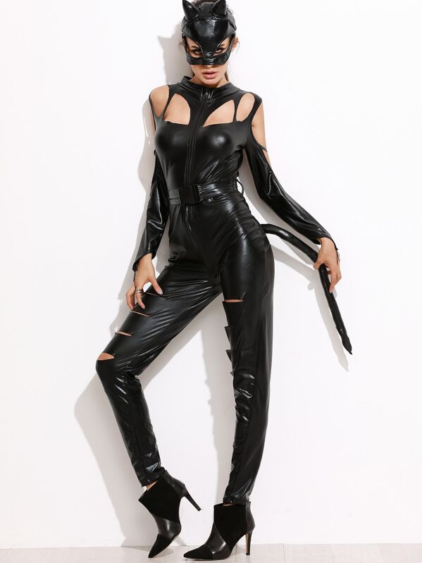 Costume Halloween Uk.Black Faux Leather Jumpsuit Halloween Costumes With Mask