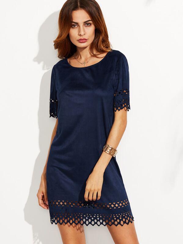 Robe suedine bleu marine