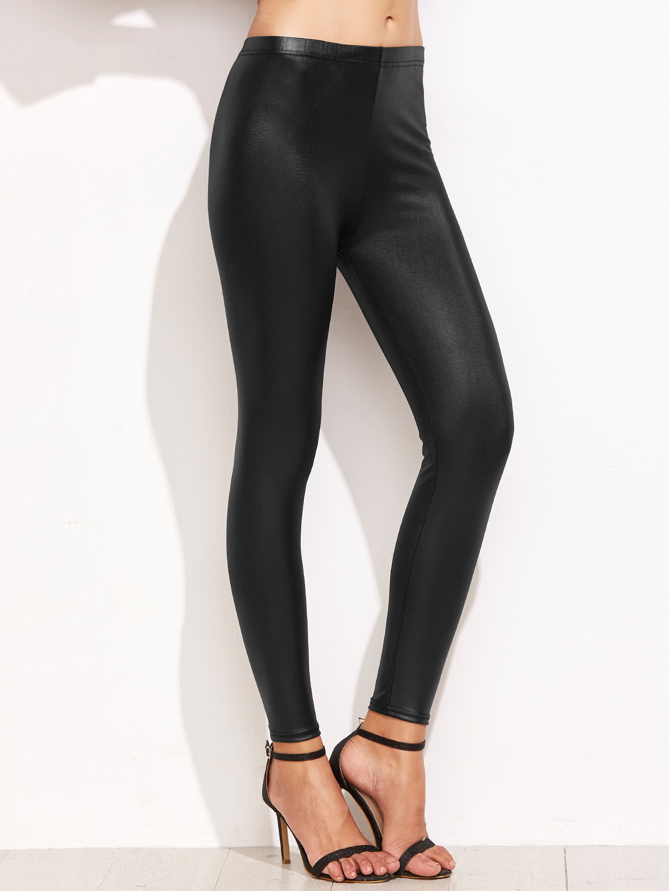 38057a02e15446 High Waist Faux Leather Leggings | SHEIN
