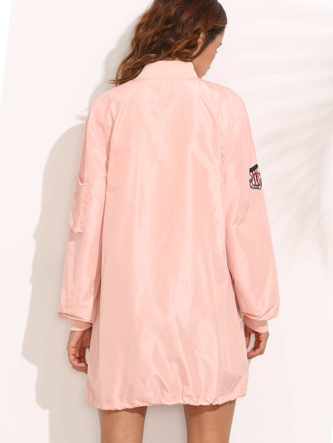 Pink Patchwork Pocket Drawstring Hem Long Jacket