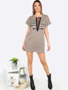 Kleid Kurzarm Vorne Schür - kaffee Bilder