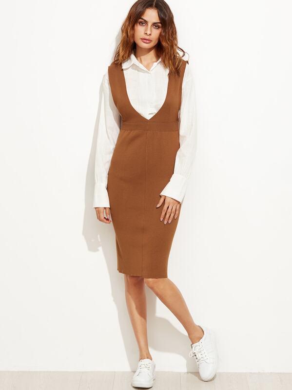 424a6baf7368 Khaki Deep V Neck Slit Back Knit Pinafore Dress | SHEIN IN