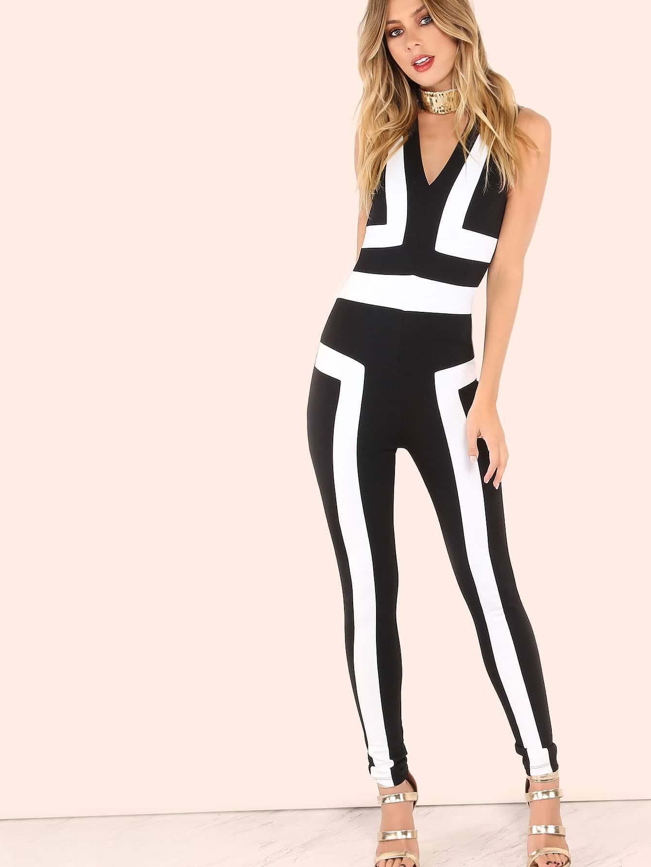 b740ee58119 V-neckline Contrast Panel Skinny Jumpsuit -SheIn(Sheinside)