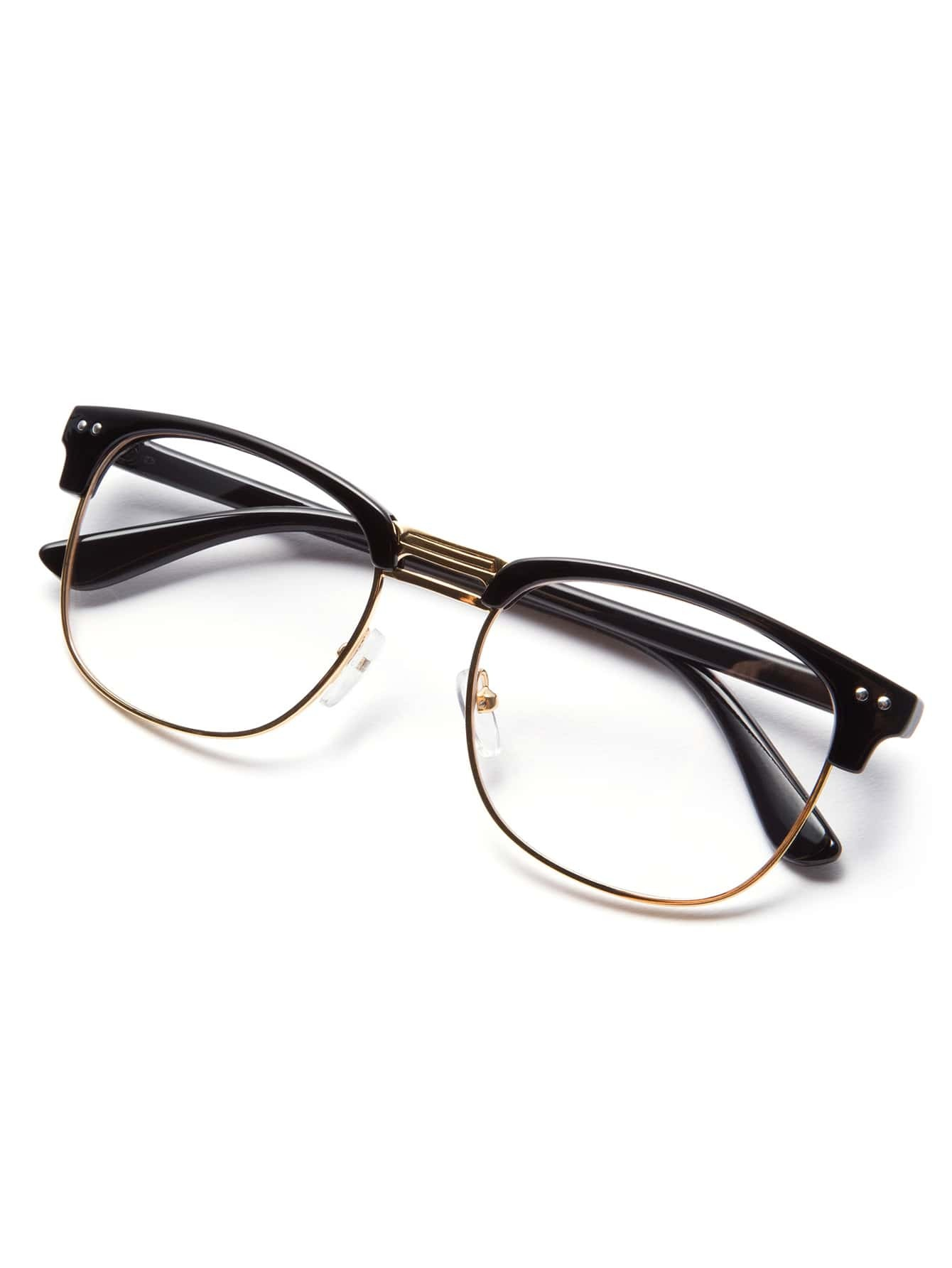 Gold Frame Glasses Tumblr : Black Open Frame Gold Trim Glasses -SheIn(Sheinside)