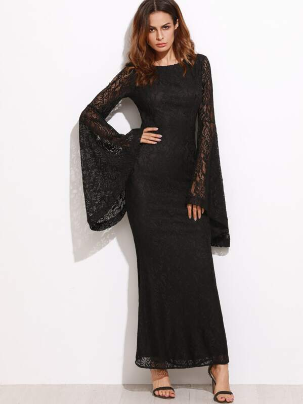 bcff314971 Oversized Bell Sleeve Floral Lace Maxi Dress | SHEIN