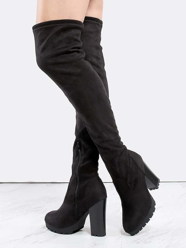 660c0ffc4 Cheap Thigh High Lug Sole Boots BLACK for sale Australia | SHEIN