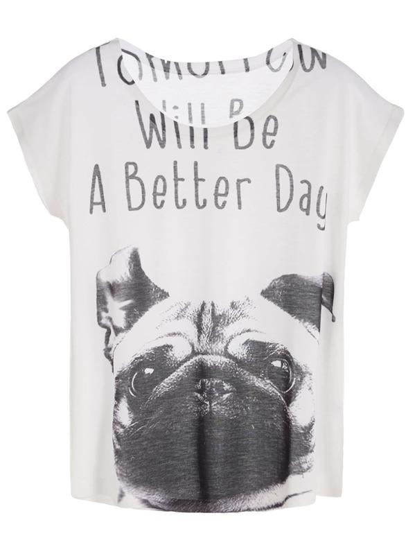 b1c23ea7e White Slogan And Dog Print Dolman Sleeve T-shirt | SHEIN IN