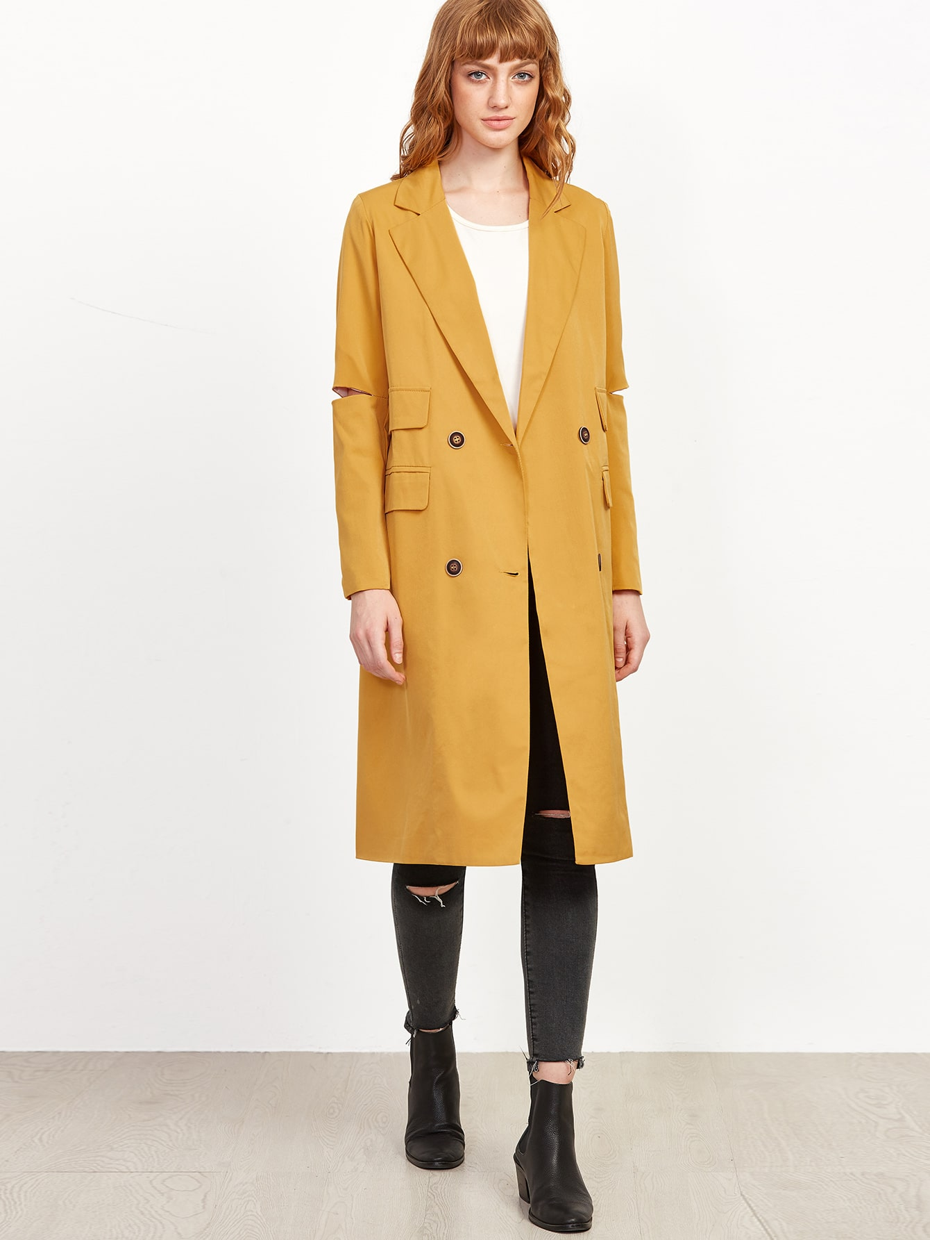 Yellow Double Breasted Pocket Trench Coat With Elbow Slit
