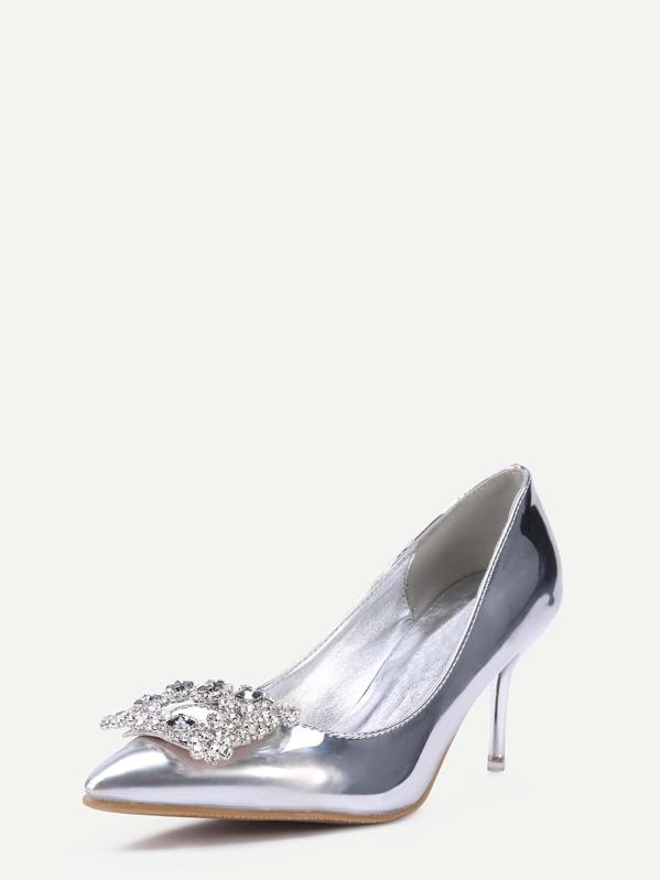 Sheinside Spanish Zapatos Salón Plateado En De Charol Punta Shein aEqvqIxrZw