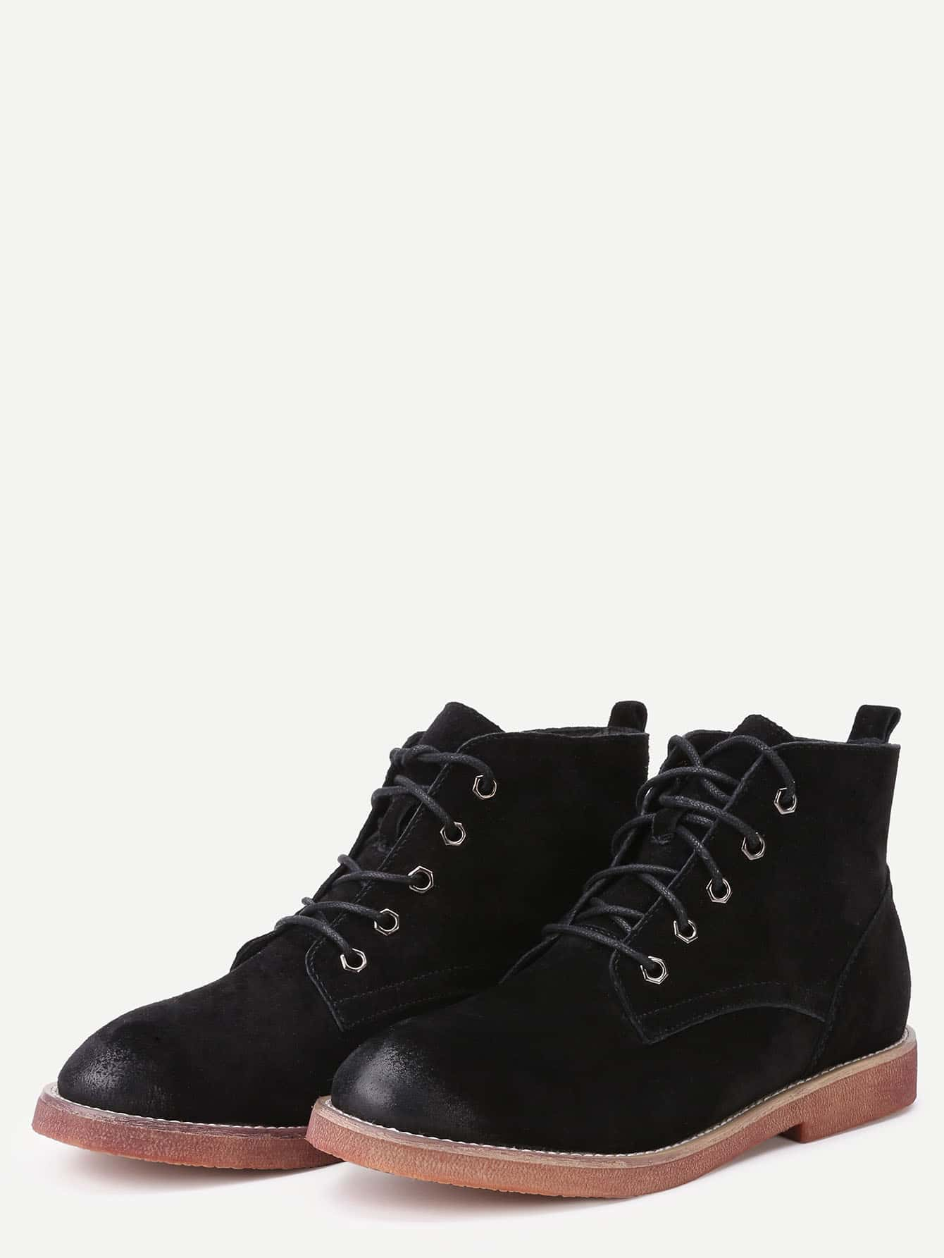 black genuine leather distressed oxford boots shein