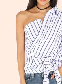 be3ab07b6c117a Striped One Shoulder Wrap Around Button Down Top