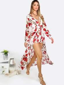 cc06a246ba38 Floral Print Deep V Neck Long Sleeve Jumpsuit