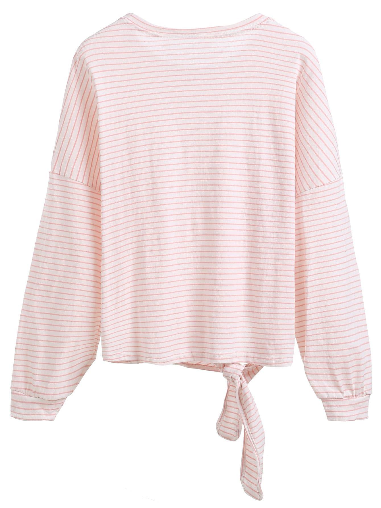 Pink striped tie front t shirt shein sheinside for Striped tie with striped shirt