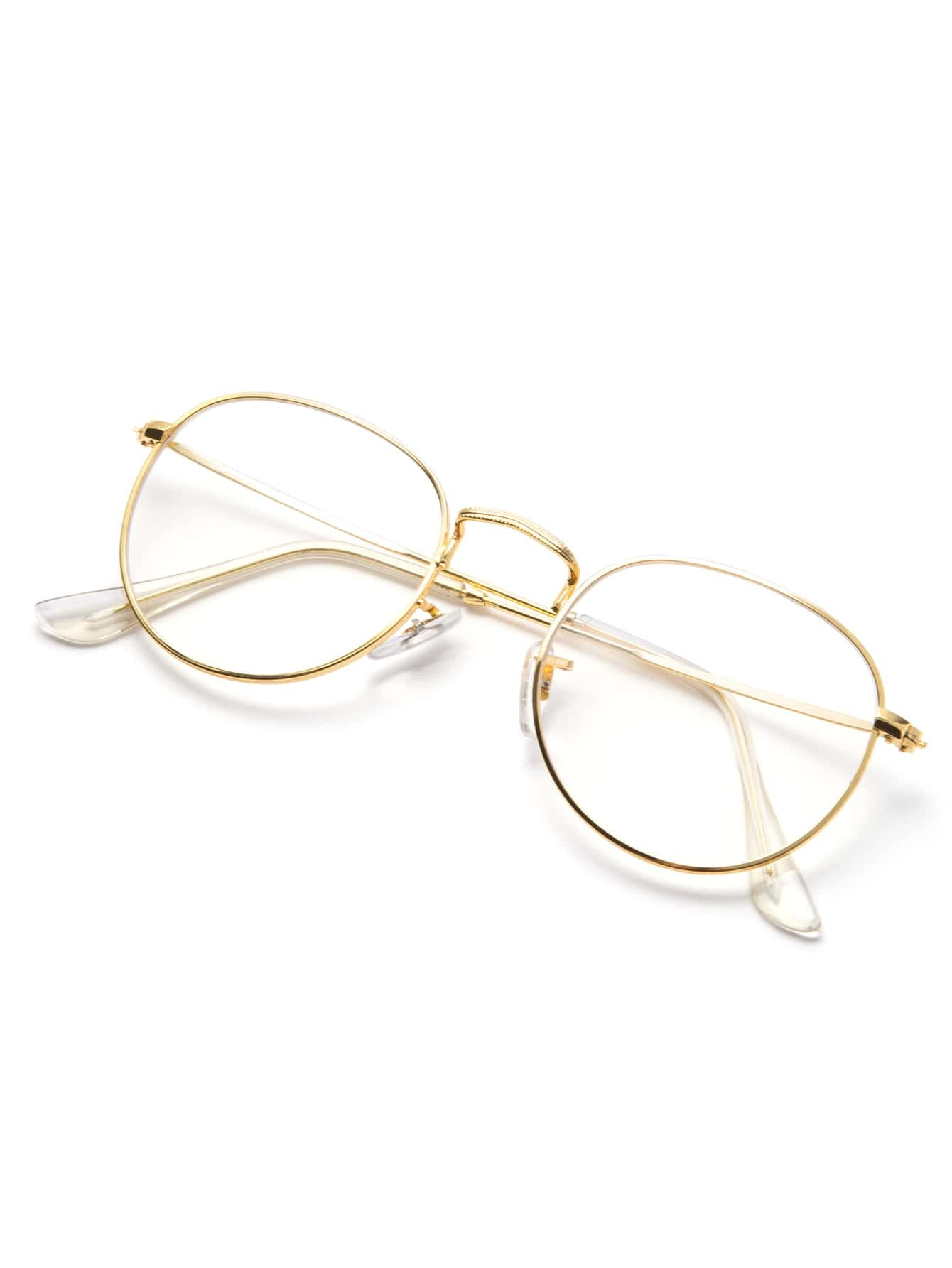 Clear Lens Gold Frame Glasses : Gold Frame Clear Lens Glasses -SheIn(Sheinside)