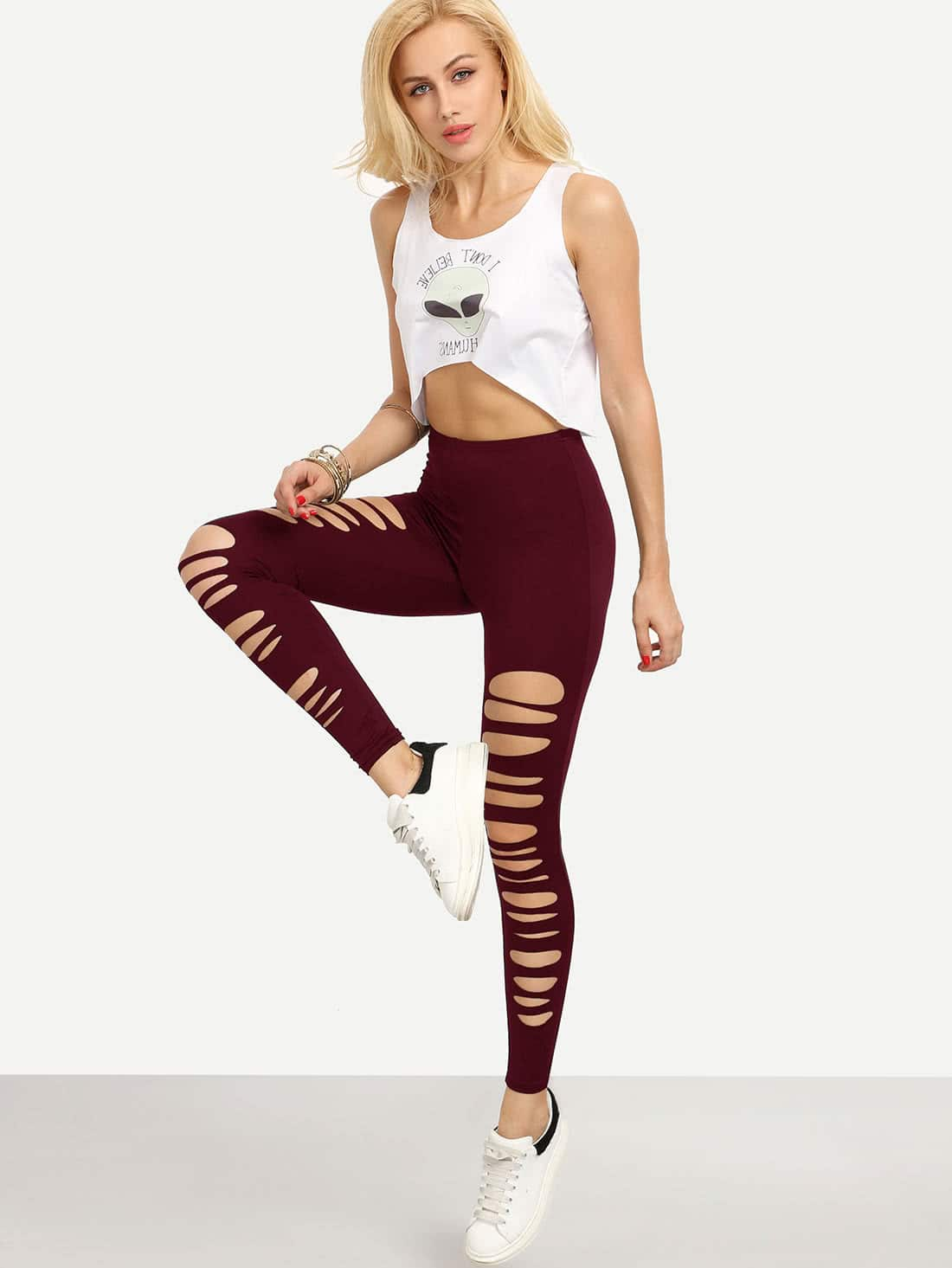 Burgundy Cut Out Elastic Waist Leggings