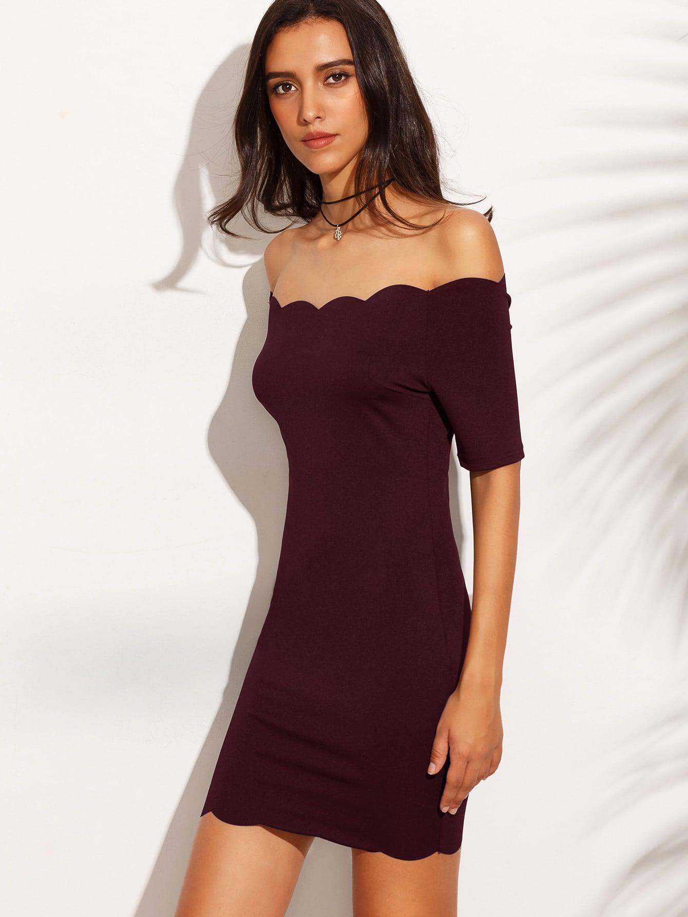 Burgundy off the shoulder bodycon dress curvy gap