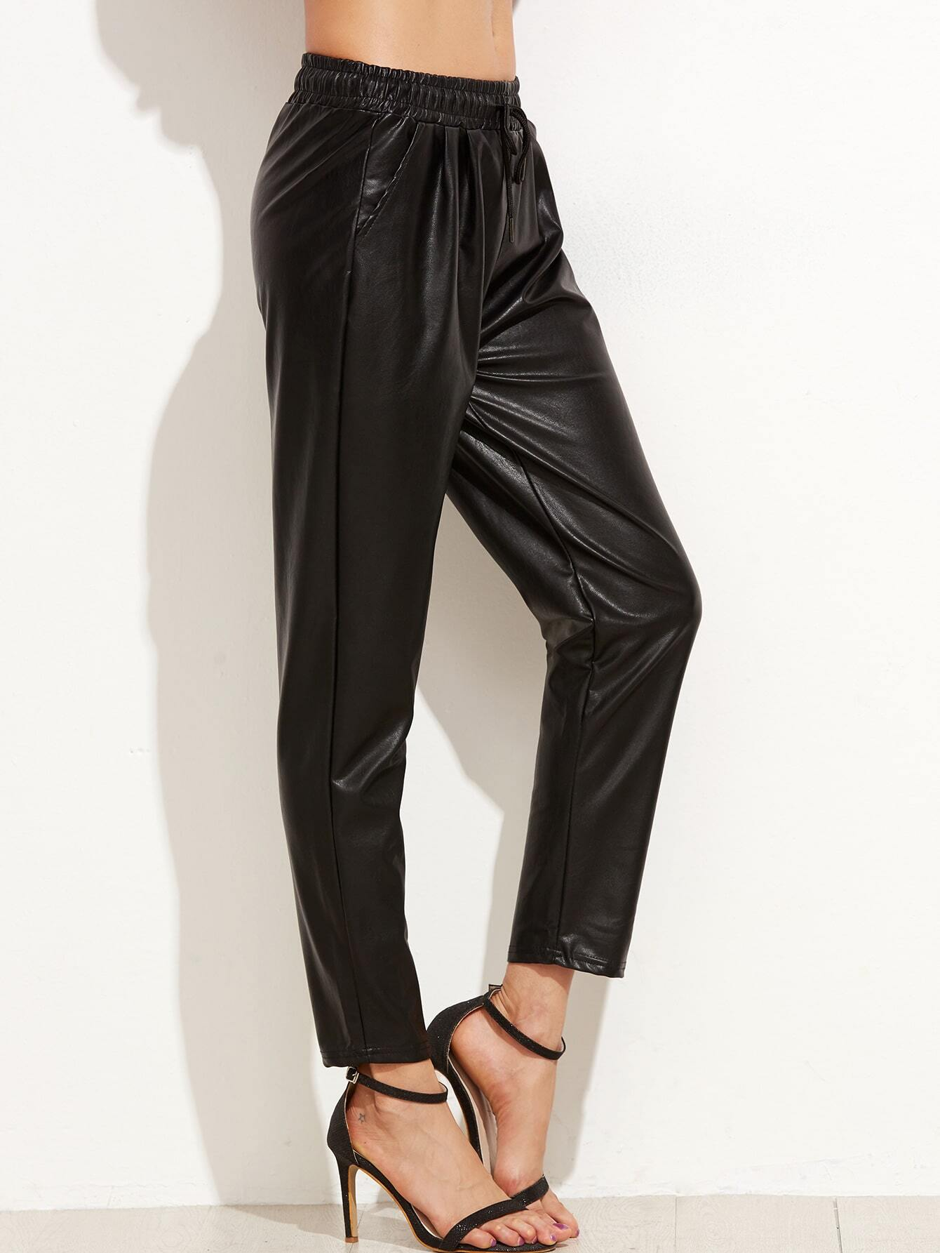 great deals thoughts on 60% discount Black Faux Leather Drawstring Pants