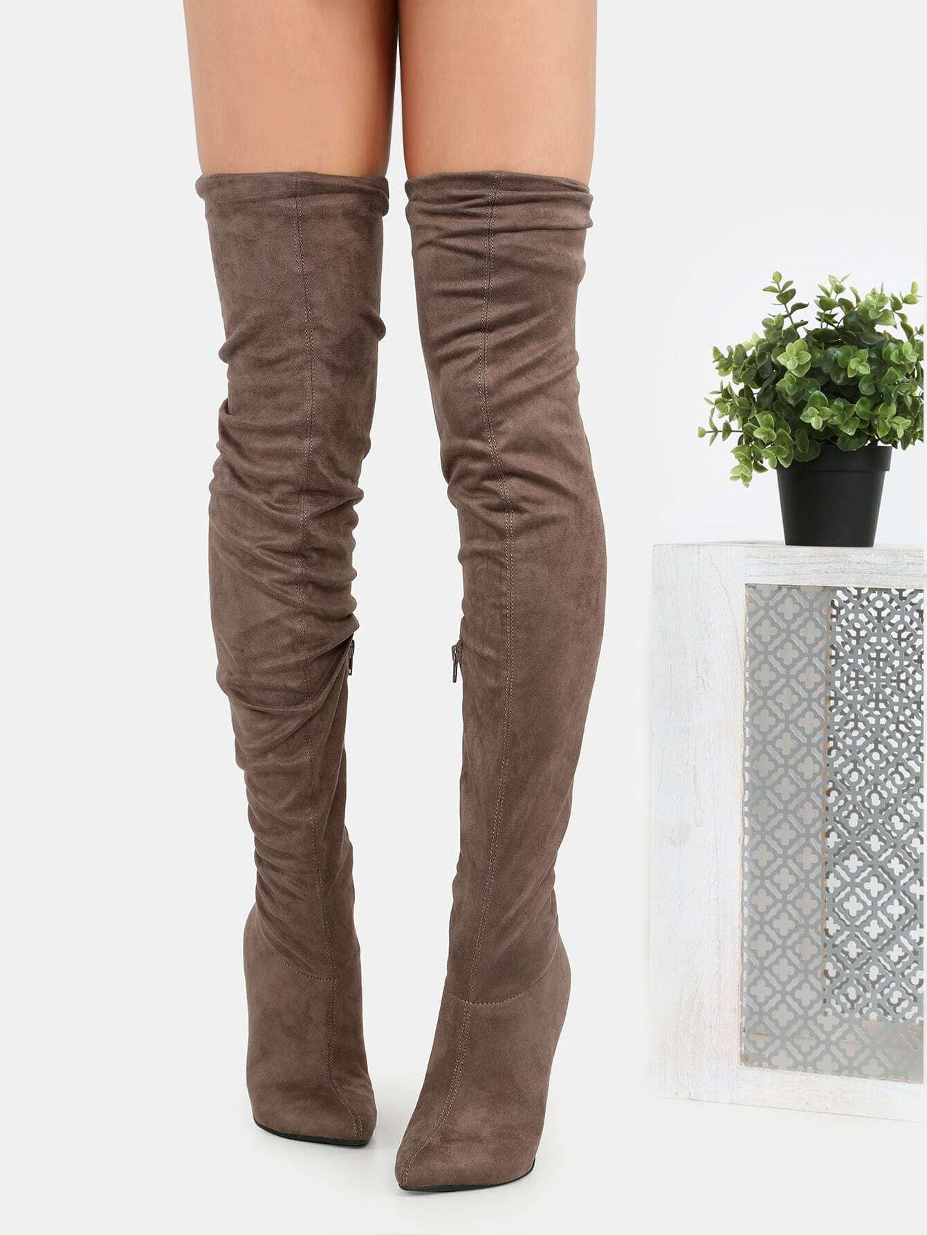 Slouchy Stiletto Thigh High Boots TAUPE -SheIn(Sheinside)