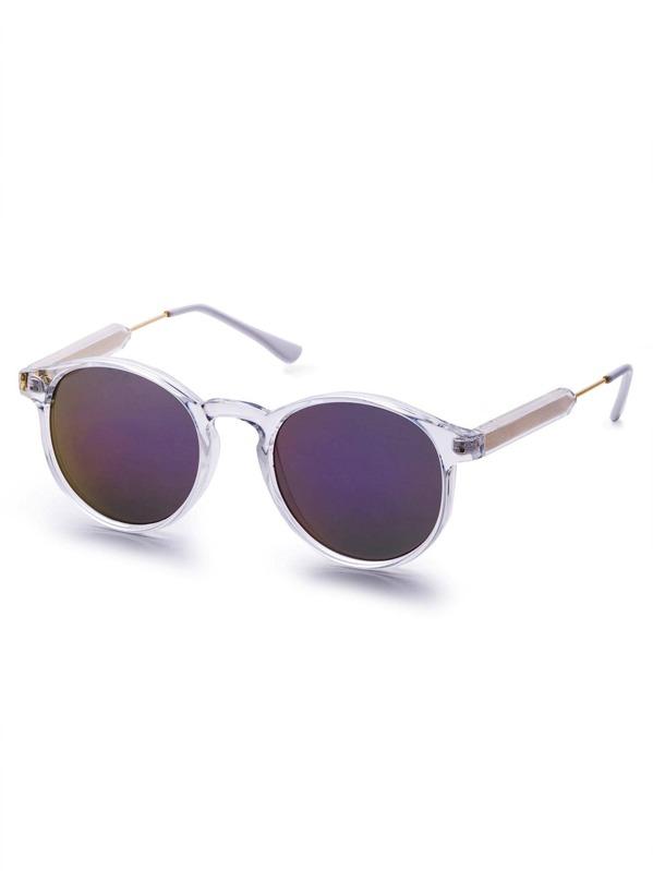 Clear Frame Purple Mirrored Lens Sunglasses -SheIn(Sheinside)