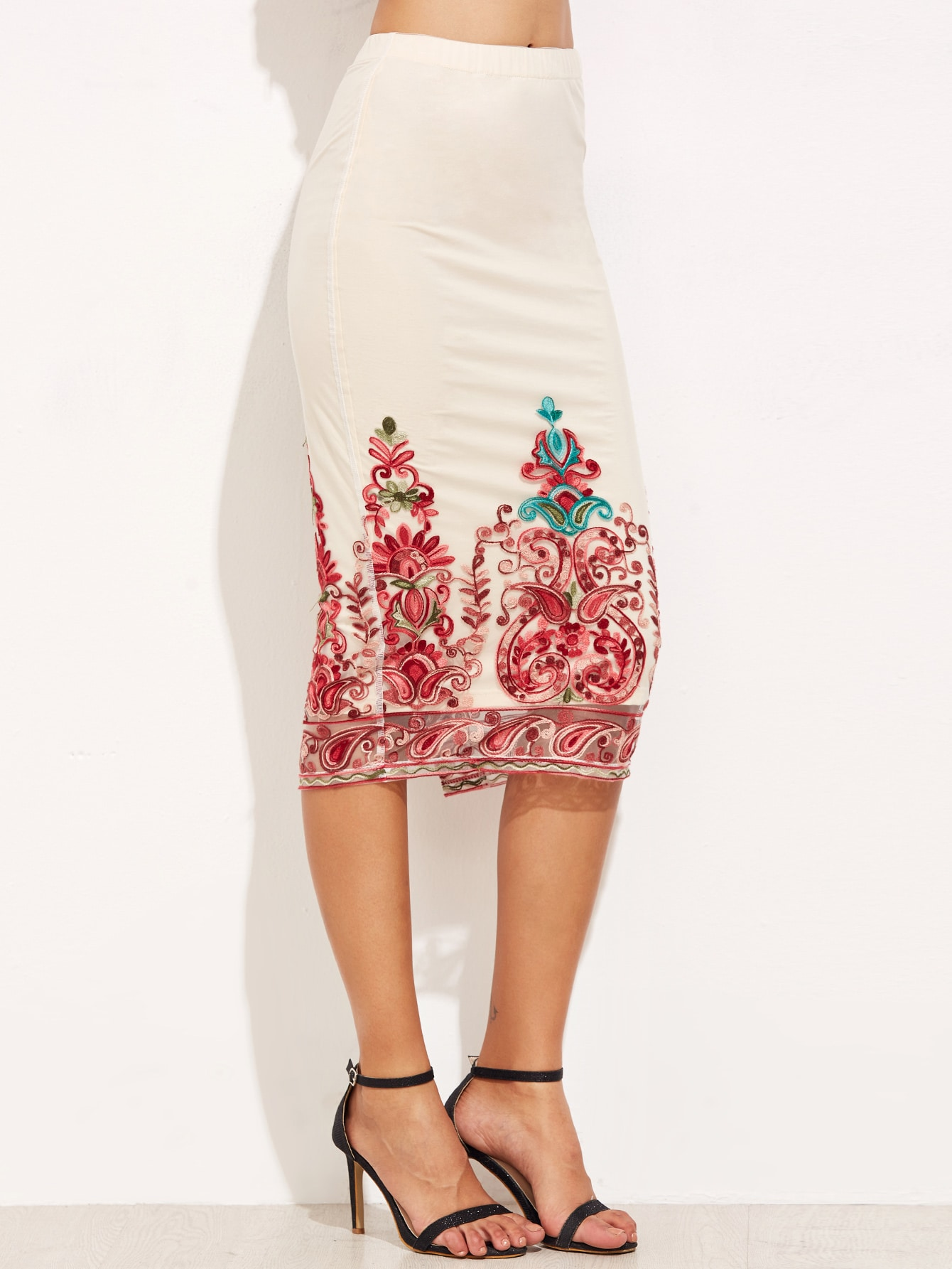embroidered mesh overlay pencil skirt shein sheinside