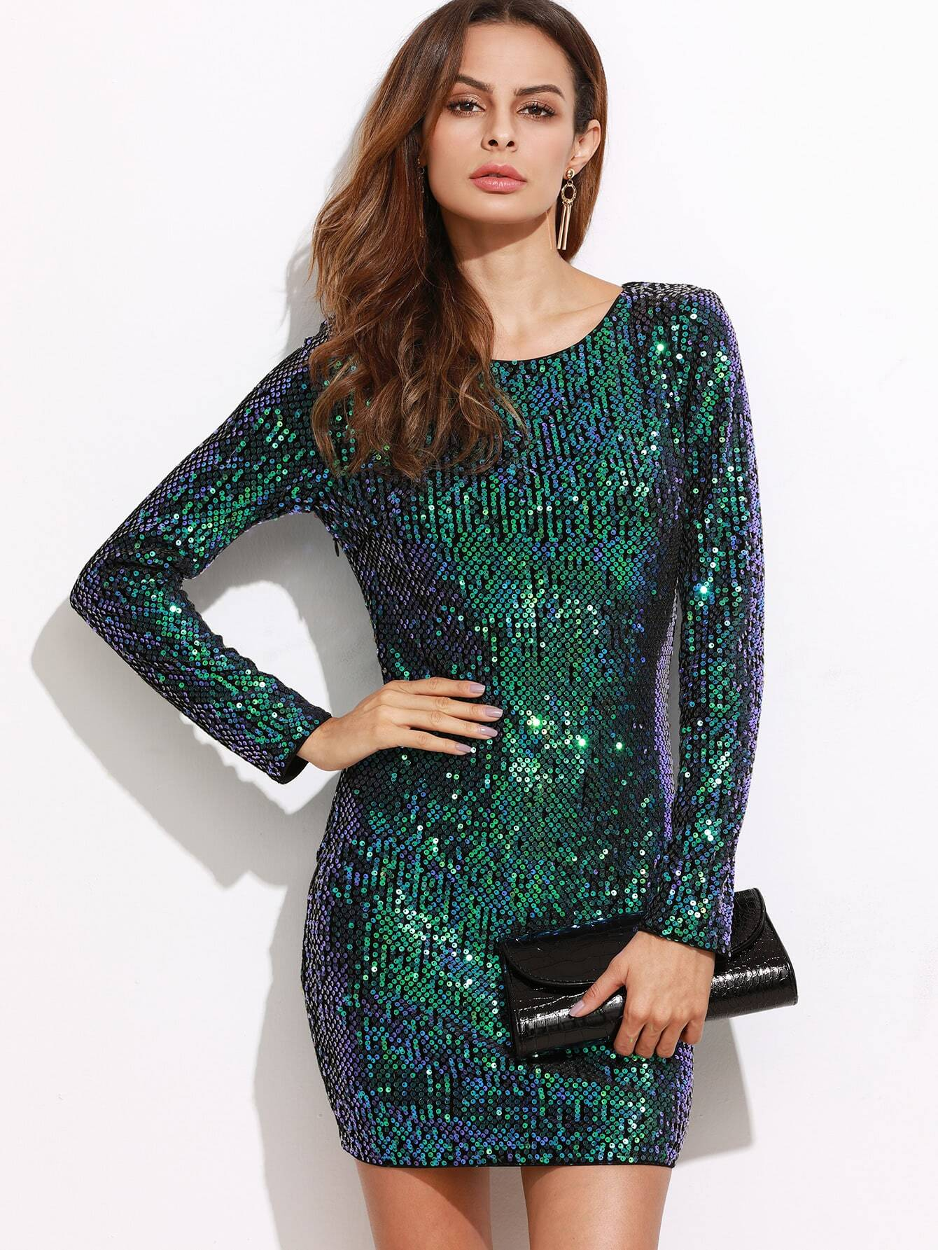 iridescent green open back sequin bodycon dress shein sheinside. Black Bedroom Furniture Sets. Home Design Ideas