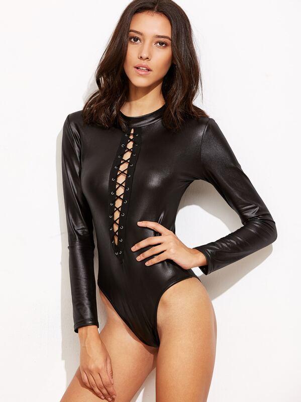 8bbda5d6920e Black Faux Leather Eyelet Lace Up Zipper Bodysuit | SHEIN