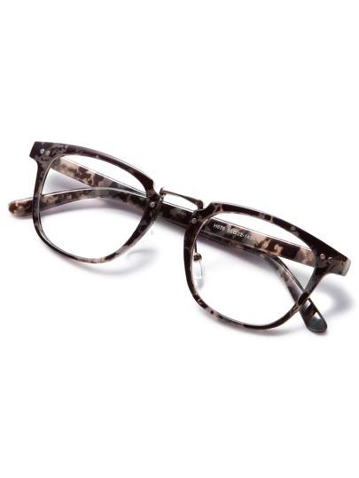 Grey Tortoise Frame Clear Lens Glasses -SheIn(Sheinside)