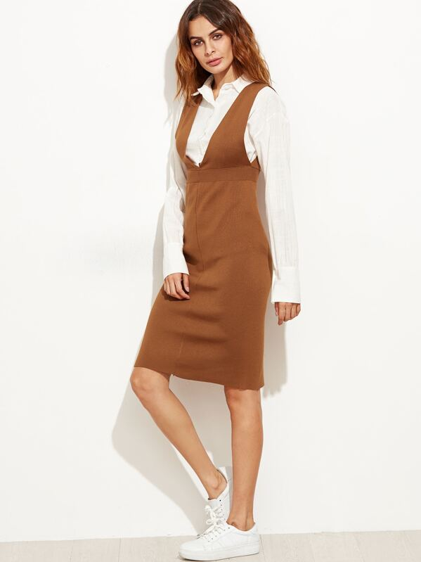 Khaki Deep V Neck Slit Back Knit Pinafore Dress -SheIn(Sheinside) 26908f29e